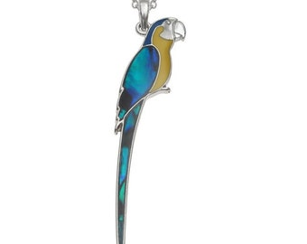 A blue and yellow Macaw parrot pendent necklace