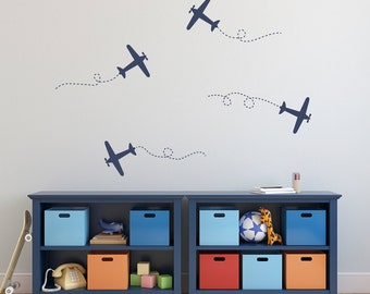 Airplane Wall Decal Set - Plane Wall Stickers - Set of 4 Airplane Decals - Medium & airplane decals Planes Vinyl Wall Decals Planes Decals Kids