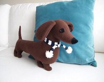 Sausage dog soft toy ( dachshund pillow, long dog cushion ) - Free shipping within the UK