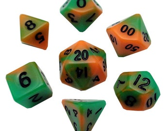 7-Die Set Combo: 10mm Orange-Green/Black - MTD445 - Metallic Dice Games