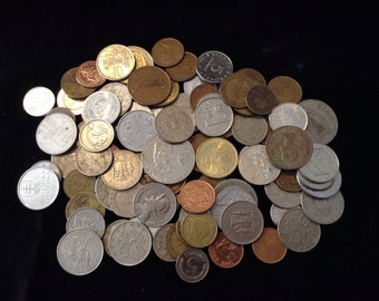 Vintage World Coins - folk magic, divination, collection, magic,Charm casting, Bone throwing,  altered art, mixed media, steampunk