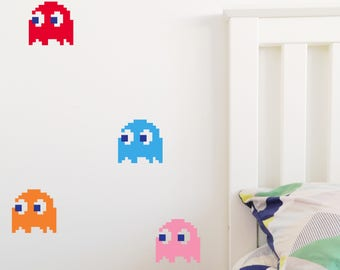 PAC MAN GHOSTS Wall Sticker, Removable Decal, Made In Australia