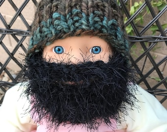 READY TO SHIP Baby Bearded Beanie - Green Brown Forest Hat with Fuzzy Black Beard 0-6 months Lumberjack