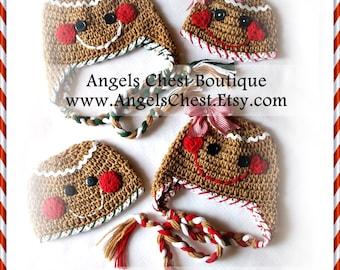 Gingerbread Cookie Crochet Hat Pattern Size Newborn to Preteen Boutique Design - No. 43 by AngelsChest
