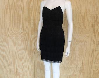 Vintage 1980's ROBERTA Black Taffeta Strapless Open Back Fringe Shimmy Wiggle Mini Dress Small S