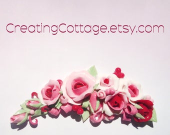 Cottage Style Shabby Chic Handmade Furniture Applique Pink White Deep Berry by CreatingCottage