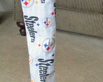 Cane Cover white background with  Pittsburgh Steelers Fabric