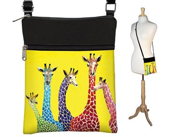 Clara Nilles Sling Bag Shoulder Purse Cross Body Bag Small Travel Purse Zipper - Jelly Bean Giraffes  cute yellow purse RTS
