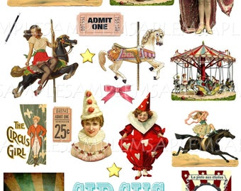 Vintage Circus Party Clipart Clip Art Digital Collage Sheet Carnival Scrapbooking Images For Card Making