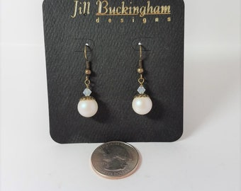 Earrings White Glass Pearls & Antique Brass