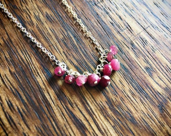 Sterling silver ruby necklace, july birthstone necklace