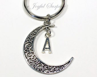 SALE Crescent Moon Keychain with Initial, Half Moon Key chain Crescent Moon Gift Filigree Moon Keyring with Initial Personalized Monogram 26