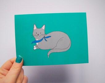 Grey Kitty - Cat Card - Blank