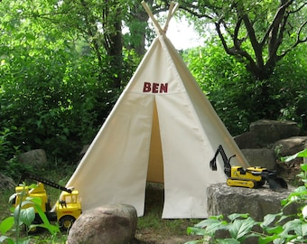 Canvas Kids Teepee Tent, Personalized, Can Include Window With Roll Up Shade, Add a name or initial, Monogrammed Play Tent