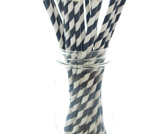 Black Drinking Straws, Decorative Straws, Graduation Party Straws, Black and White Paper Straws, 25 Pack - Black Striped Straws