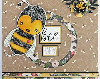 "Interactive ""Bee Happy"" Handmade Card"
