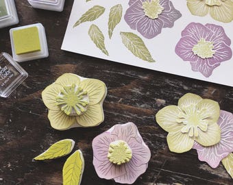 Hellebore Flowers and Leaves Rubber Stamp Set