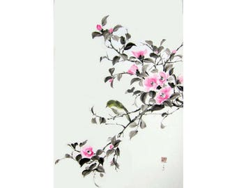 Pink Camellia and bird Ink Painting Japanese art Japanese wall art Ink art Asian art Sumi-e Suibokuga Large art