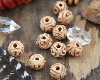 Desert Rose : Carved Bone Beads, India, Tea-Stained Brown, Cream 12x9mm, Natural Beads, Cow Bone Beads, Craft, Jewelry Making Supply, 10 pcs
