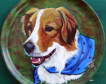 Custom Pet Portrait Hand Painted of Your Dog or Cat or Horse Pet Lover Pets Portrait Personalized on a 10.5 Inch Plate