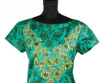 ON SALE 1950s Top // Green Floral Chintz with Gold Embroidery Cotton Short Sleeve Blouse