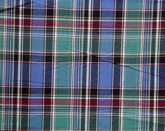 cotton canvas fabric, blue and green Plaid