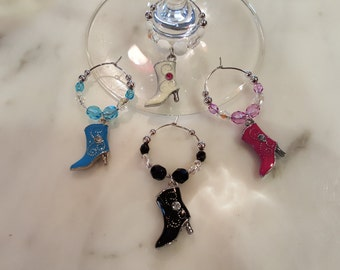 Boot Boots Cowgirl   Wine Charms with Pouch
