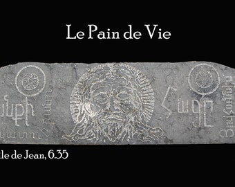 Engraving on marble the bread of life