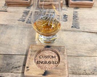 Glencairn Bourbon Barrel Coaster and Glass - Custom Engraved