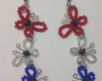 Red, white and blue butterfly earrings