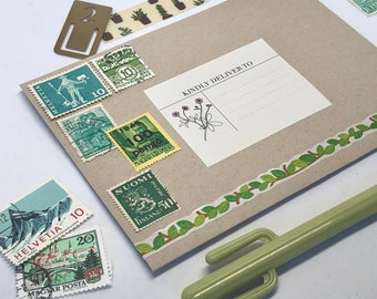 Set of 8 GREEN Vintage Foreign Postage Stamps, Used Stamps, Postage Stamps, Scrapbooking, Craft Stamps, International Stamps