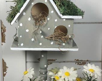 Shabby chic hand-painted gray & polka dot birdhouse