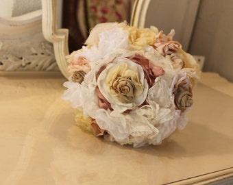 Flower bouquet Rhinestone and pearl brooches silk room Fabric Flower Wedding Bouquet, Fabric Brooch Bouquet, Custom Brooch Bouquet