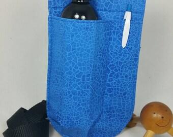 Massage Therapy single LEFT hip 8oz lotion bottle hip holster, cobalt crackle, black belt