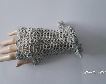 Crochet Mittens, Fingerless Gloves,Light Grey, Sharkskin Colour, 100% Mercerized Cotton.