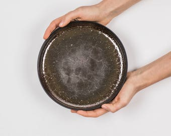 ceramic plate, wabi sabi, serving plate, pottery, tableware, modern ceramic, wedding gift, home decor, black plate,ceramic tray,gift for her