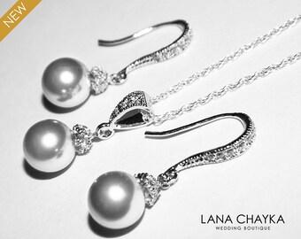 Light Grey Pearl Jewelry Set Swarovski 8mm Light Grey Pearl Necklace&Earring Set Sterling Silver Cz Grey Pearl Set Bridal Bridesmaid Jewelry