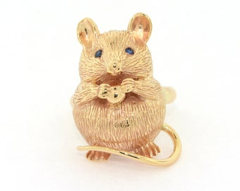 Mouse Ring - 14k Yellow Gold Mouse Ring