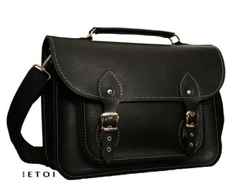 Laptop bag, messenger bag, shoulder bag, crossbody bag, gift, black faux leather bag, man faux leather satchel