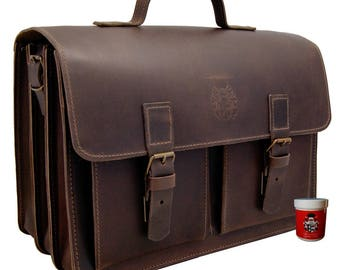 Briefcase DA VINCI 2.0 of made of brown organic leather - Made in Germany