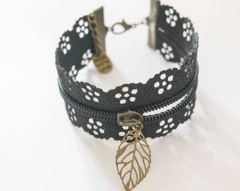 Bronze Cuff Bracelet in Black Lace with charm.