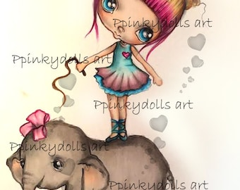 INSTANT DOWNLOAD Digital Digi Stamps..by Chrishanthi's art,Circus elephant''