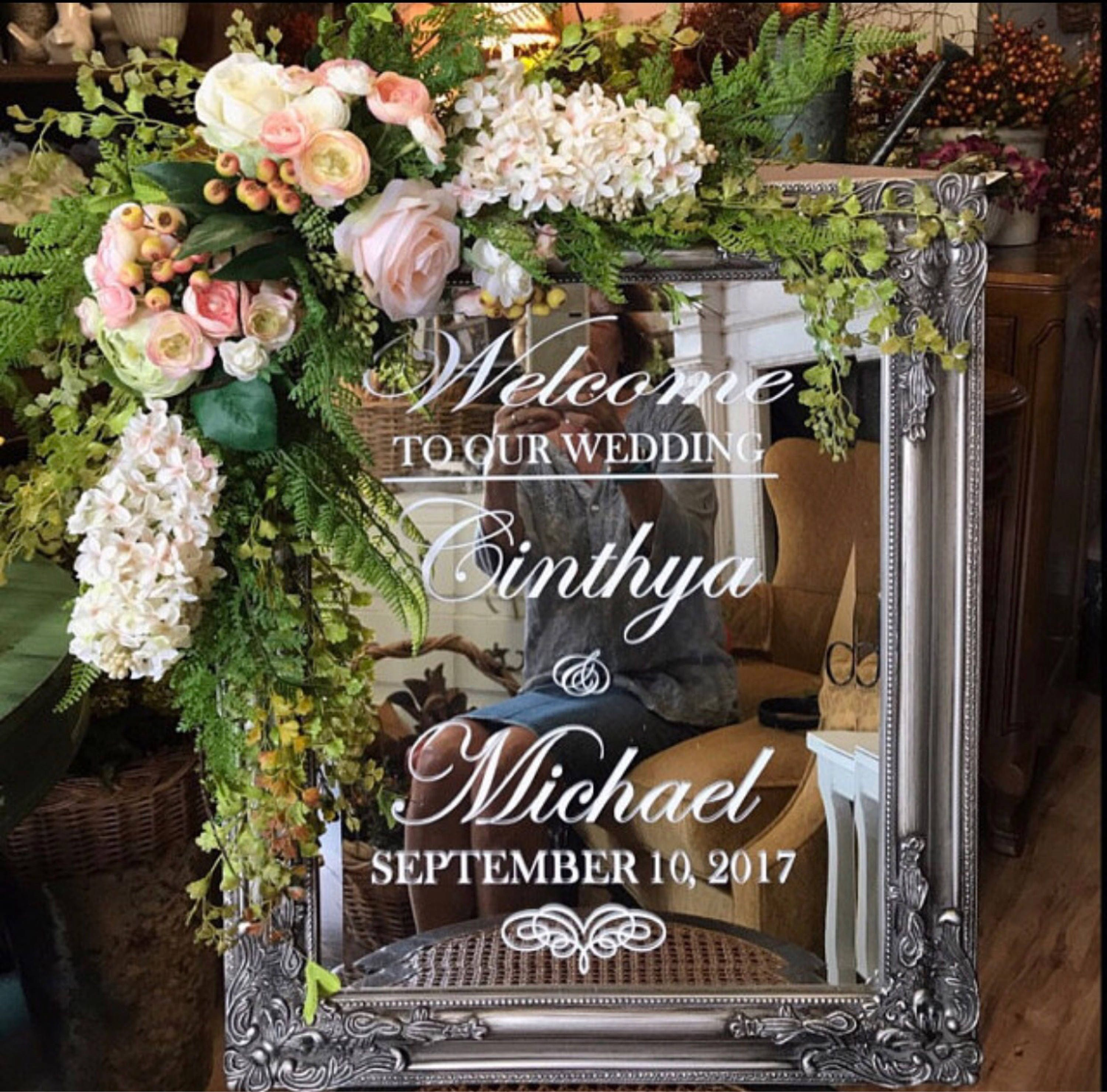 Wedding Welcome Sign Mirror Decal Scroll Heart