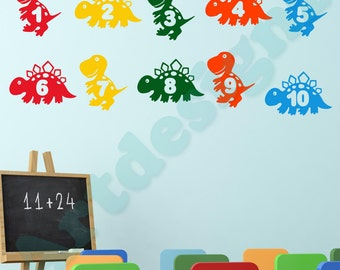 DINOSAUR Numbers 1 to 10 Tyrannosaurus T Rex Learning Educational Girls Boys Childrens Bedroom Nursery Vinyl Wall Art Sticker Decal Transfer