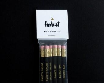 Black and Gold Pencils, Imprinted Pencils, Black Hex Pencils with Gold Type, Black and Gold Imprinted Pencils, Black Hex Pencils