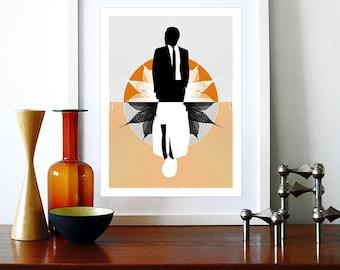 Mad Men poster print Mid Century Modern Eames vintage office retro kitchen art - Mad Men Orange A3