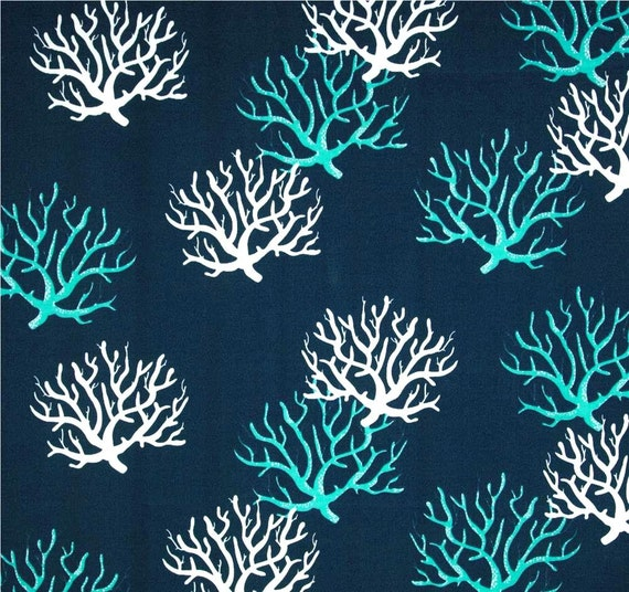 Navy Blue Coastal Coral Indoor Outdoor Designer Fabric By The Yard Navy U0026  Turquoise Contemporary Tropical Home Decor Fabric Outdoor S148 From  CottonCircle ...
