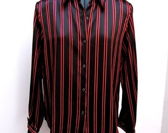 Christie and Jill Black & Red Vertical Striped Satin Women's Long Sleeved Button Front Blouse Size 10P