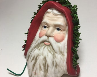 "Vintage 3"" Santa Head Hand Painted Christmas Ornament"
