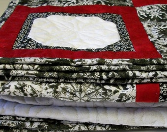 Snowflakes Lap Quilt Quilted Red Black White Winter Christmas Quiltsy Handmade FREE U.S. Shipping